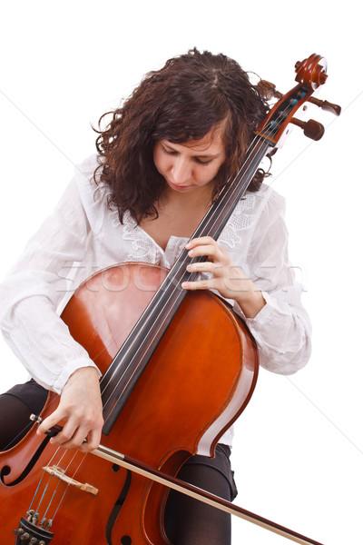 Piękna kobieta wiolonczelista wiolonczela instrument muzyczny kobieta drewna Zdjęcia stock © grafvision