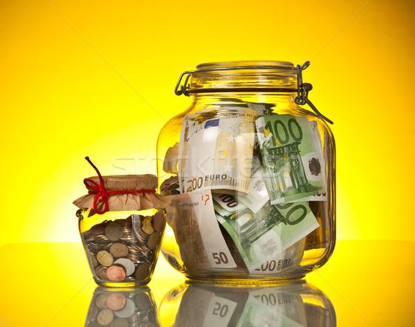 ストックフォト: ガラス · 銀行 · ヒント · お金 · 黄色 · 背景
