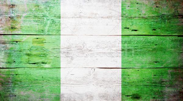 Bandeira Nigéria pintado sujo madeira Foto stock © grafvision