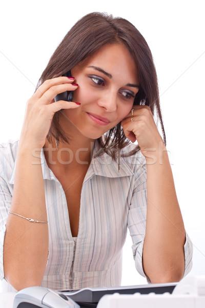 Jeunes femme d'affaires portrait charmant coup de téléphone bureau Photo stock © grafvision