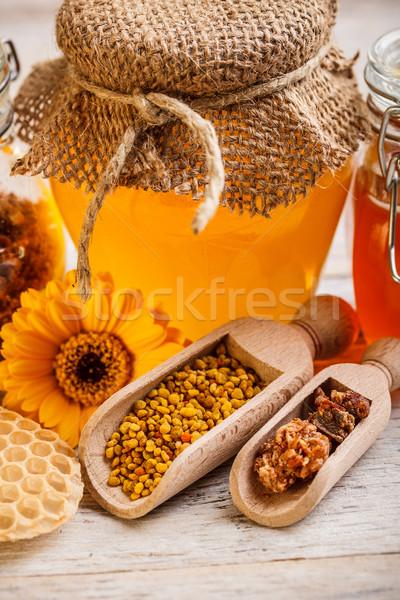Pot honing stuifmeel propolis voedsel goud Stockfoto © grafvision