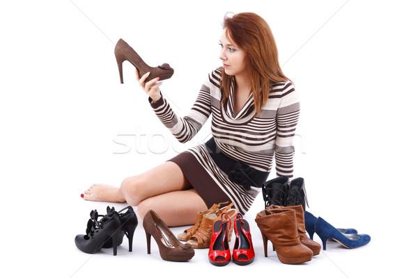 женщину обувь сидят полу моде Сток-фото © grafvision