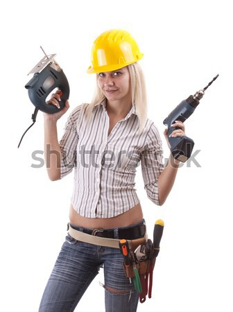 Foto stock: Beautiful · girl · mulher · jovem · três · de · um · tipo · máquina · trabalhar · casa