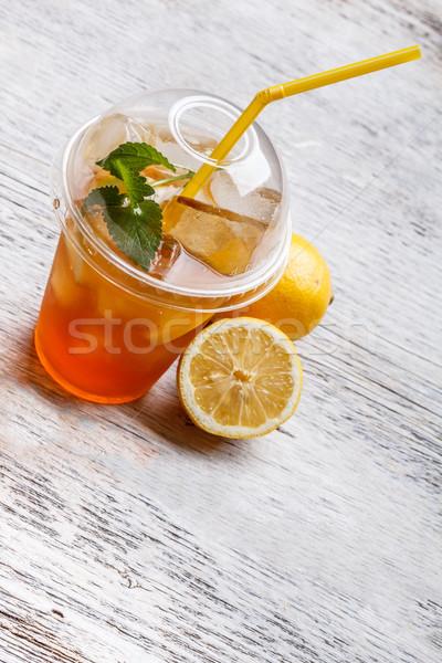 Ice tea műanyag csésze citrom menta levél Stock fotó © grafvision