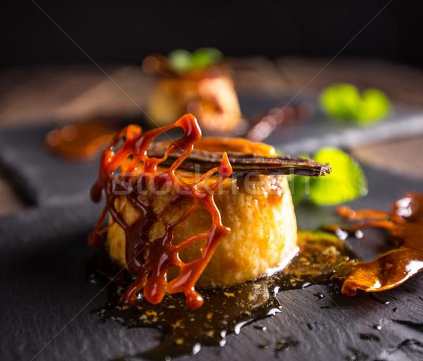 Foto stock: Caseiro · caramelo · servido · doce · xarope · tradicional