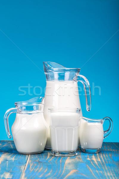Naturale latte fresco blu alimentare vetro Foto d'archivio © grafvision