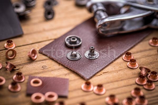 Strumento pelle lavoro strumenti pulsante Foto d'archivio © grafvision