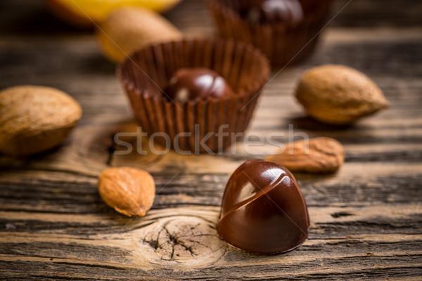 Gurmé csokoládé klasszikus fából készült háttér cukorka Stock fotó © grafvision