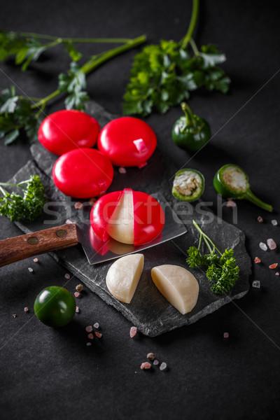 Cheddar ser czerwony wosk czarny żywności Zdjęcia stock © grafvision