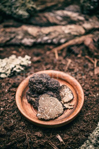 Delicatezza funghi nero legno piatto alimentare Foto d'archivio © grafvision
