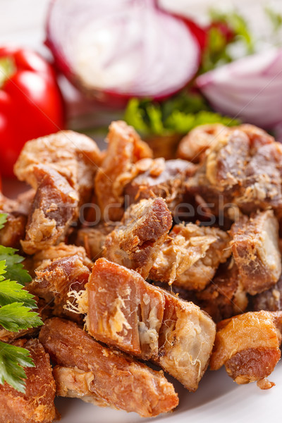 Tuzlu domuz eti arka plan yeşil grup Stok fotoğraf © grafvision