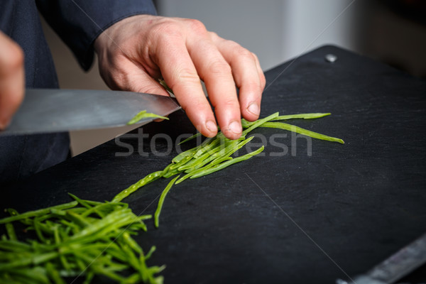 Chef cutting chives Stock photo © grafvision