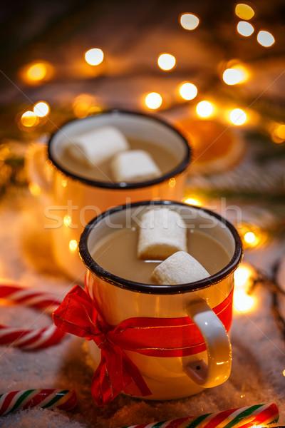 Stock fotó: Bögre · forró · csokoládé · karácsony · ital · mályvacukor · pezsgő