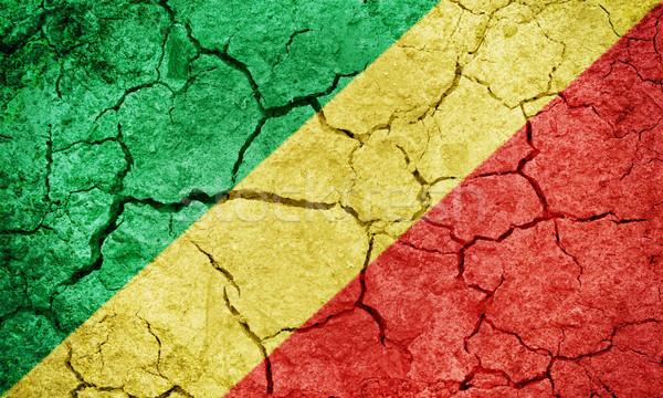 Repubblica Congo bandiera asciugare terra terra Foto d'archivio © grafvision