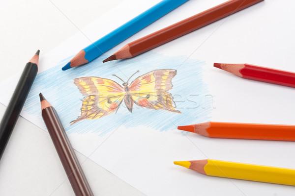 Renk kalemler çalışmak turuncu eğitim yeşil Stok fotoğraf © grafvision