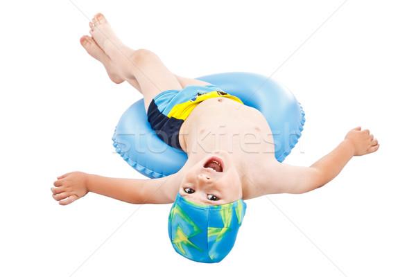 Weinig jongen spelen Blauw leven ring Stockfoto © grafvision