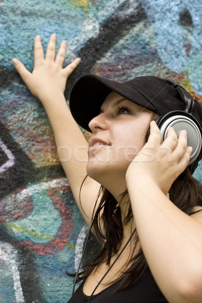 woman with headphones Stock photo © grafvision