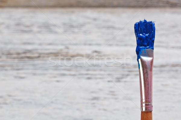 Penseel Blauw verf metaal kunst borstel Stockfoto © grafvision