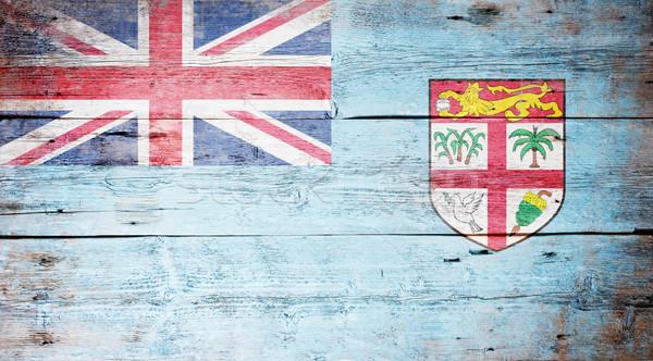 Zászló Fidzsi-szigetek festett koszos fa palánk Stock fotó © grafvision