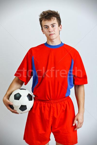 Futbolcu top gri futbol futbol Stok fotoğraf © grafvision