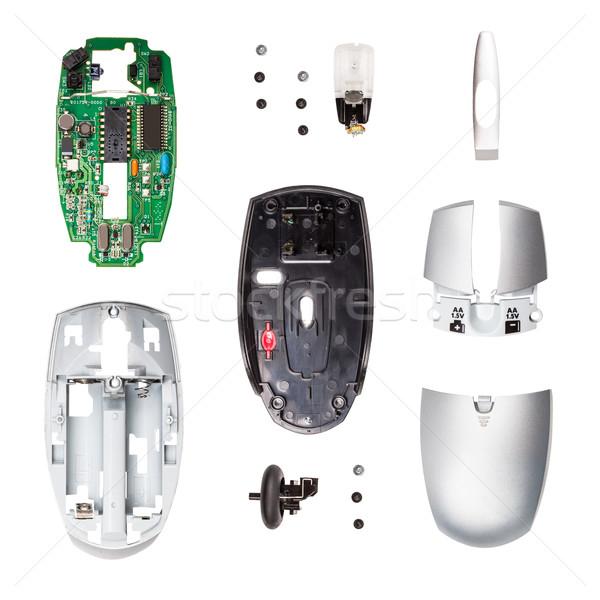 беспроводных Компьютерная мышь компоненты белый технологий фото Сток-фото © grafvision