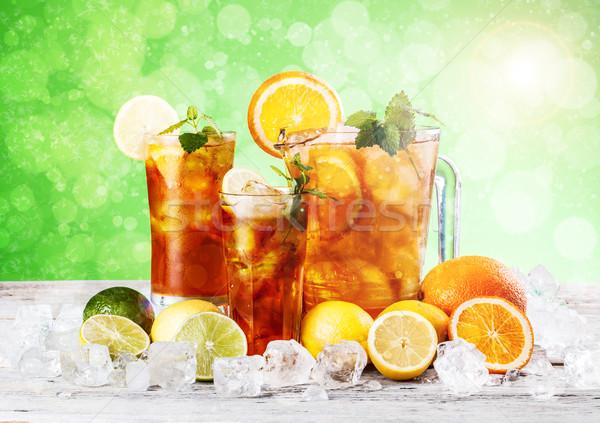 Froid thé glacé fraîches citron menthe verre Photo stock © grafvision