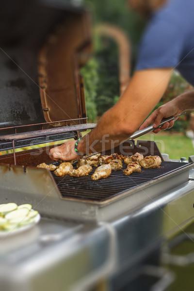 Pollo a la parrilla pierna parrilla carne cocina filete Foto stock © grafvision