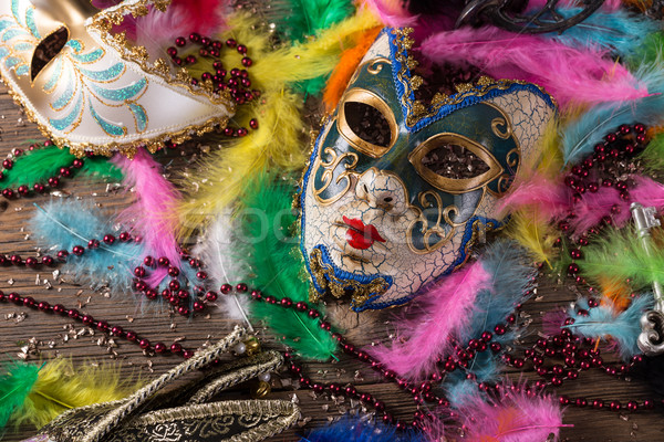 Carnaval masker levendig veer gezicht achtergrond Stockfoto © grafvision