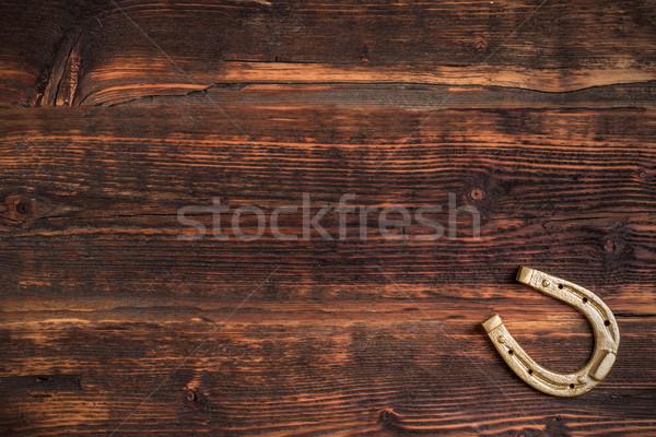 Altın at nalı ahşap ev duvar nesne Stok fotoğraf © grafvision