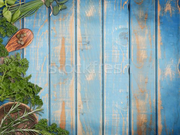 Frescos aromático hierbas azul madera Foto stock © grafvision