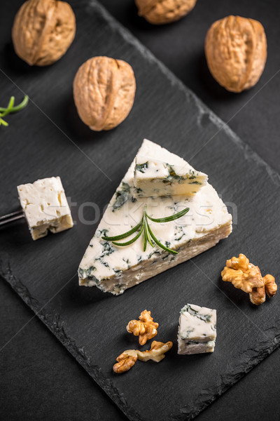Queijo azul nozes preto comida azul Foto stock © grafvision