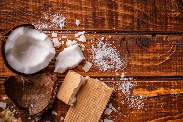 Ostya szelet házi készítésű fehér csokoládé krém Stock fotó © grafvision