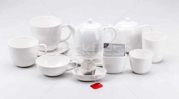Moderne porselein thee ingesteld witte koffie Stockfoto © grafvision