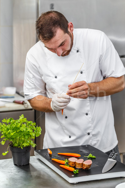 Chef preparing ornamental elements Stock photo © grafvision