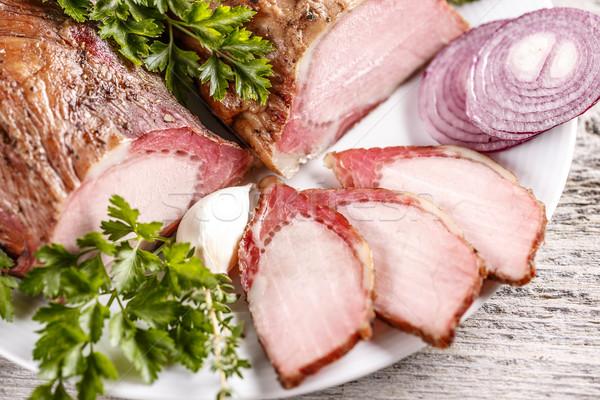 Smoked pork loin Stock photo © grafvision