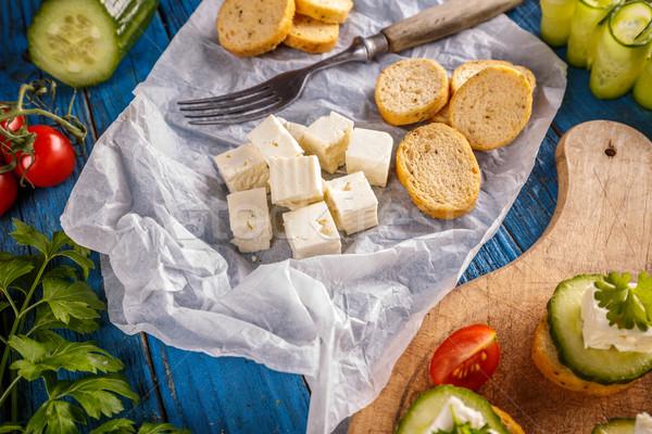 パン 焼いた フェタチーズ キューブ 葉 朝食 ストックフォト © grafvision