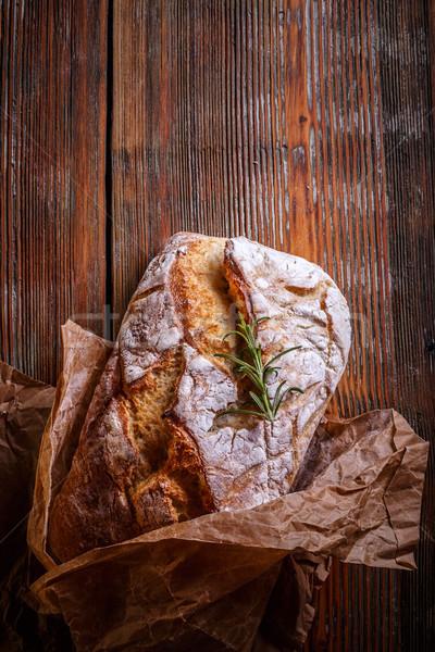 Hagyományos fehér kenyér felső kilátás fa étel Stock fotó © grafvision
