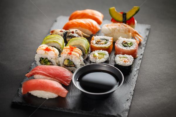 Sushi ayarlamak sashimi hizmet soya sosu Stok fotoğraf © grafvision