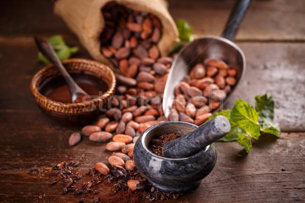 Stock foto: Still-Leben · Boden · Schokolade · Jahrgang · Saatgut · Bohnen