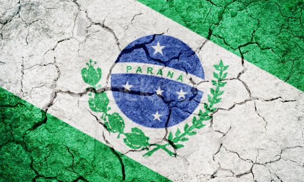 Brasil bandeira secar terra terreno textura Foto stock © grafvision