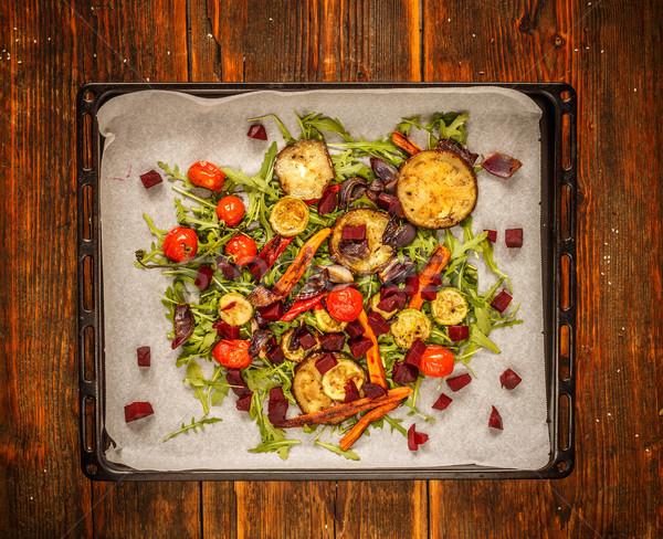 Sütő pörkölt zöldségek sütés tálca levél Stock fotó © grafvision