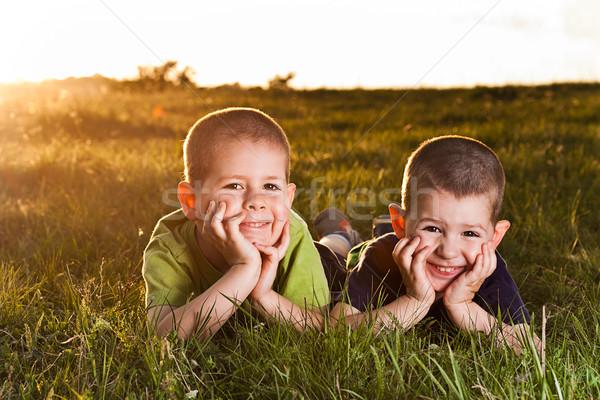 Kettő fiútestvérek fű naplemente tavasz kéz Stock fotó © grafvision