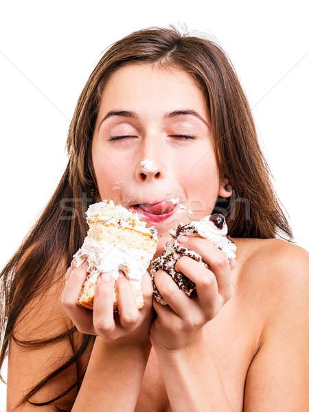 Fiatal nő finom torta ajkak darab lány Stock fotó © grafvision