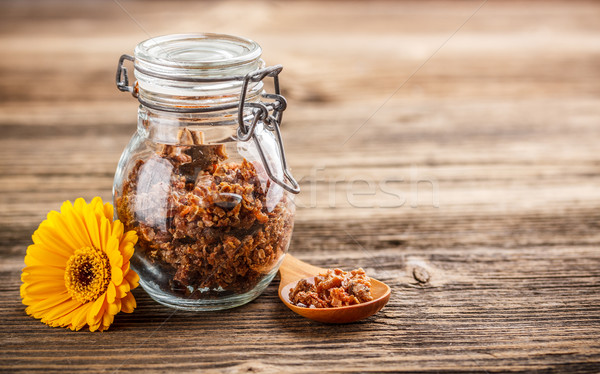 Propolis glas jar rustiek houten bloem Stockfoto © grafvision