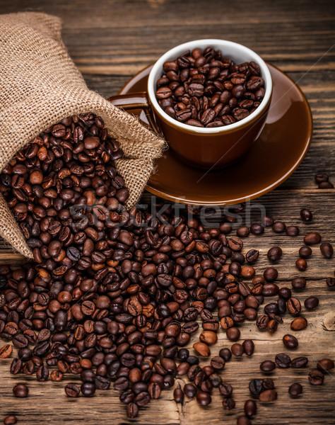 コーヒー豆 外に 袋 コーヒー カフェ レトロな ストックフォト © grafvision