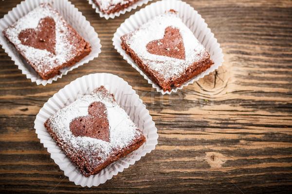 Koyu çikolata zencefil çikolata akşam yemeği pişirme tatlı Stok fotoğraf © grafvision