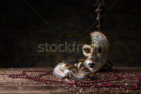 カーニバル マスク 顔 楽しい 赤 装飾 ストックフォト © grafvision