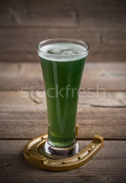 Green beer and horseshoe Stock photo © grafvision