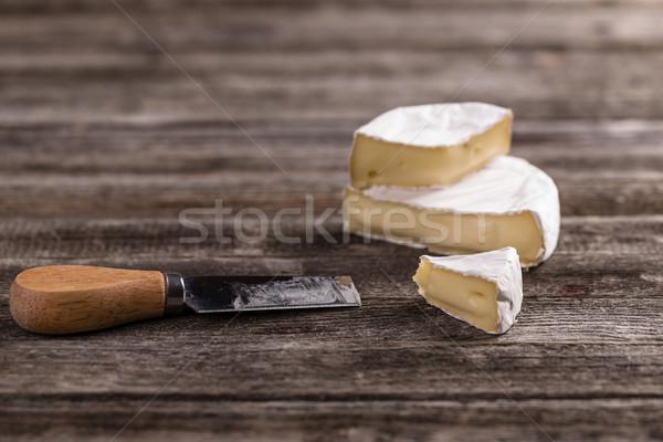 Camembert francés piezas servido madera alimentos Foto stock © grafvision