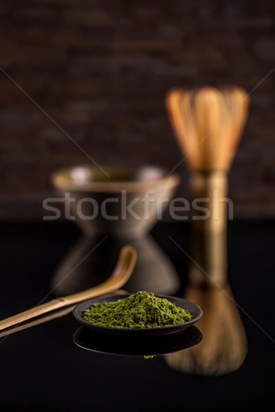 Chá verde pó japonês preto prato chá Foto stock © grafvision